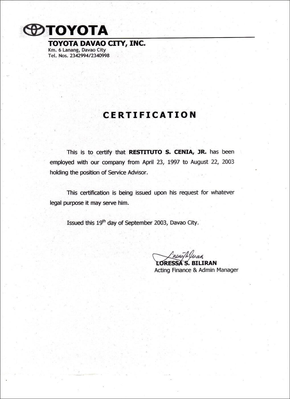 Employment Certificate Sample Best Templates Pinterest Throughout Template Of Certificate Of Employment