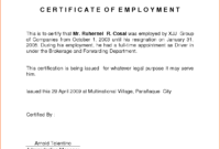Employment Certification Related Keywords Amp Suggestions with regard to Employee Certificate Of Service Template