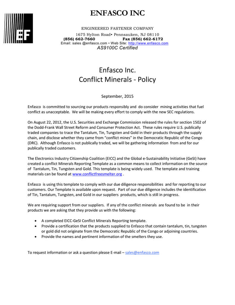 Enfasco Inc Enfasco Inc. Conflict Minerals - Policy With Regard To Conflict Minerals Reporting Template