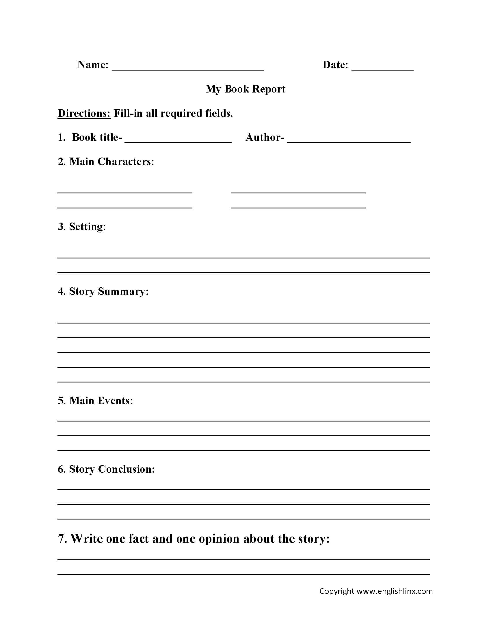 Englishlinx   Book Report Worksheets Within Book Report Template 6Th Grade