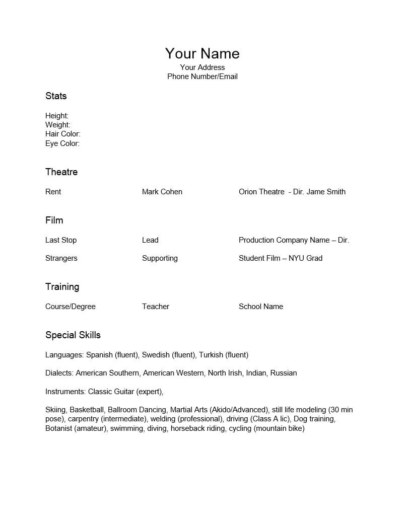 Epub] Resume For Actors Template – 6.6Mb Pertaining To Theatrical Resume Template Word