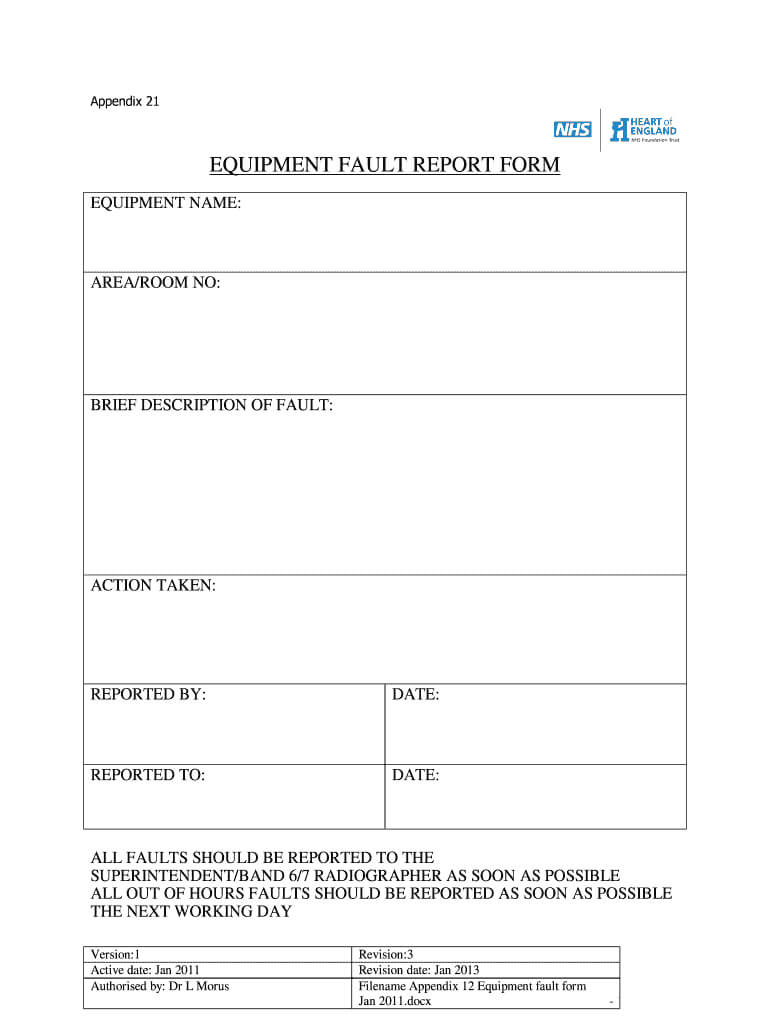Equipment Fault Report - Fill Online, Printable, Fillable Within Equipment Fault Report Template