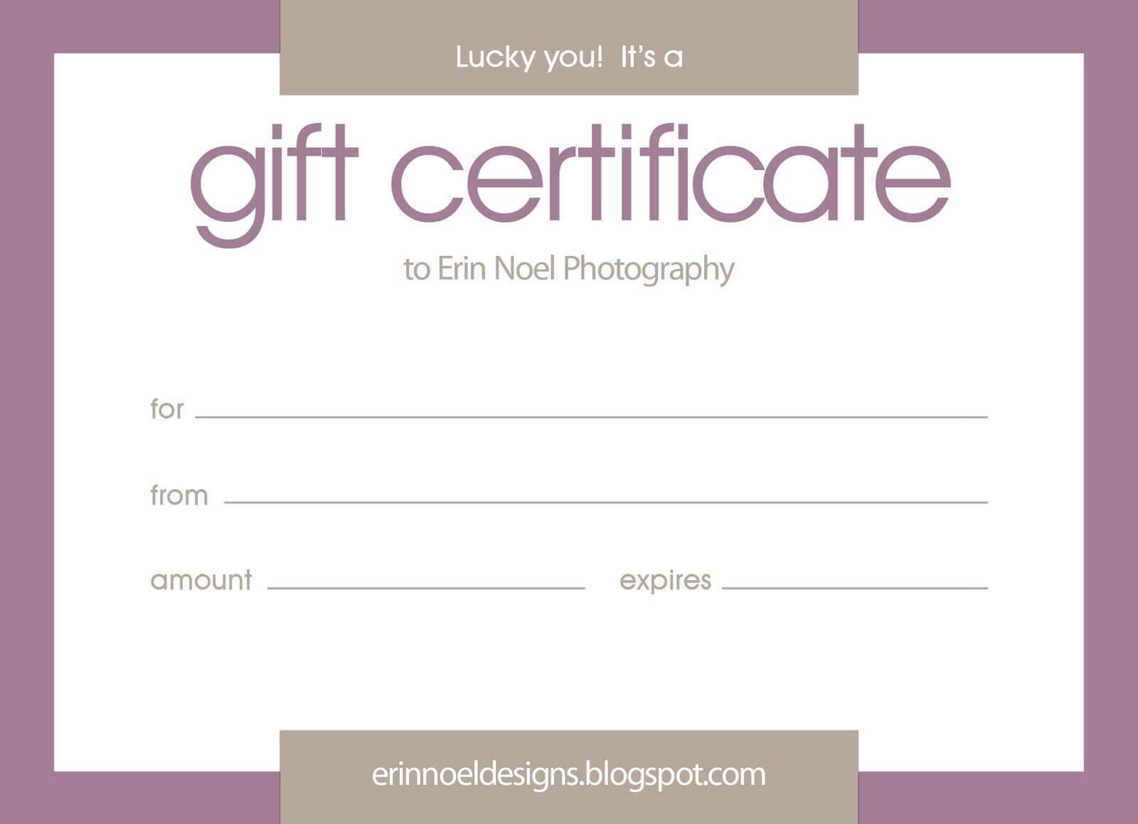 Erin Noel Designs: Gift Certificates!   Gift Certificate For Gift Certificate Template Indesign