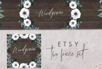 Etsy Banner & Avatar Template, Custom Listing, Reserved, Sale, Banner,  Templett, Green, Pretty, Paint, Watercolor, Wooden, Woodgrain with Etsy Banner Template