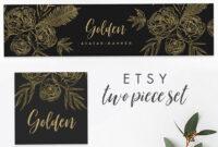Etsy Banner & Avatar Template Instant Download Templett, Editable, Branding  Set Premade Etsy Set Etsy Shop Branding, Banner, Floral, Golden inside Etsy Banner Template