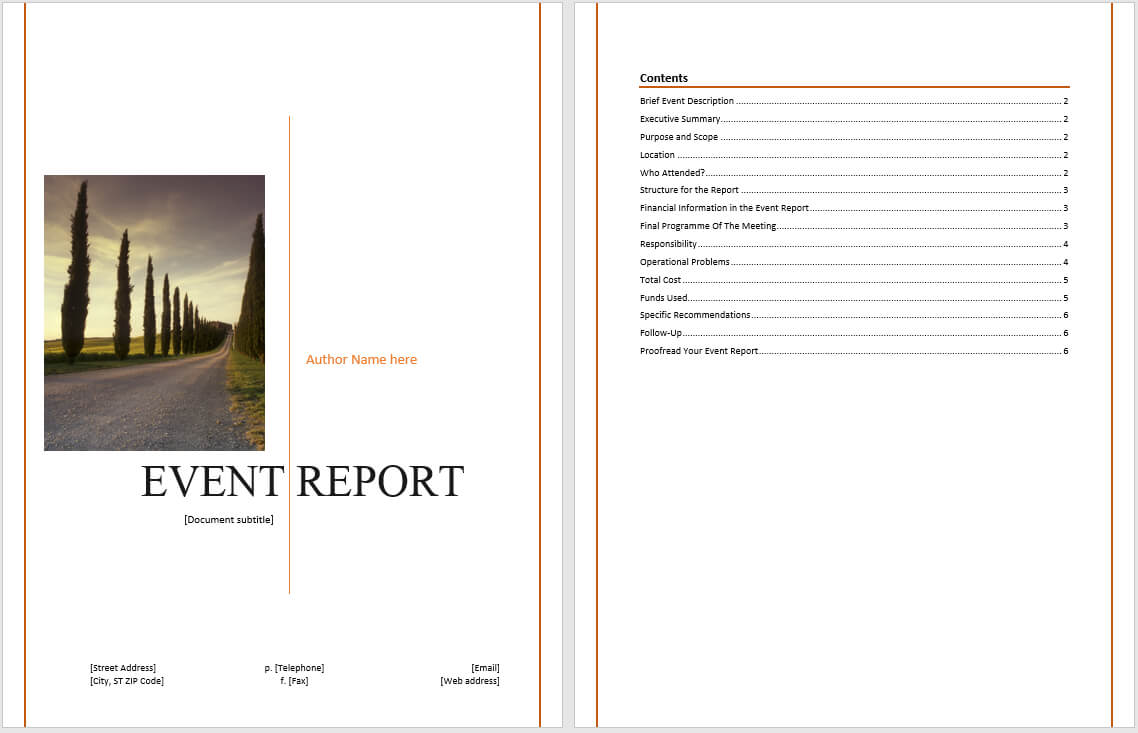 Event Report Template - Microsoft Word Templates For After Event Report Template
