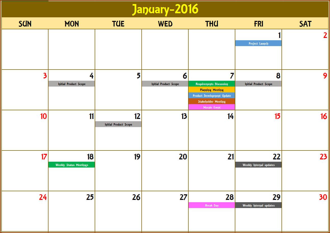 Excel Calendar Template – Excel Calendar 2019, 2020 Or Any Throughout Blank Activity Calendar Template