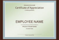 Excellent Employee Certificate Of Appreciation Template throughout Good Job Certificate Template