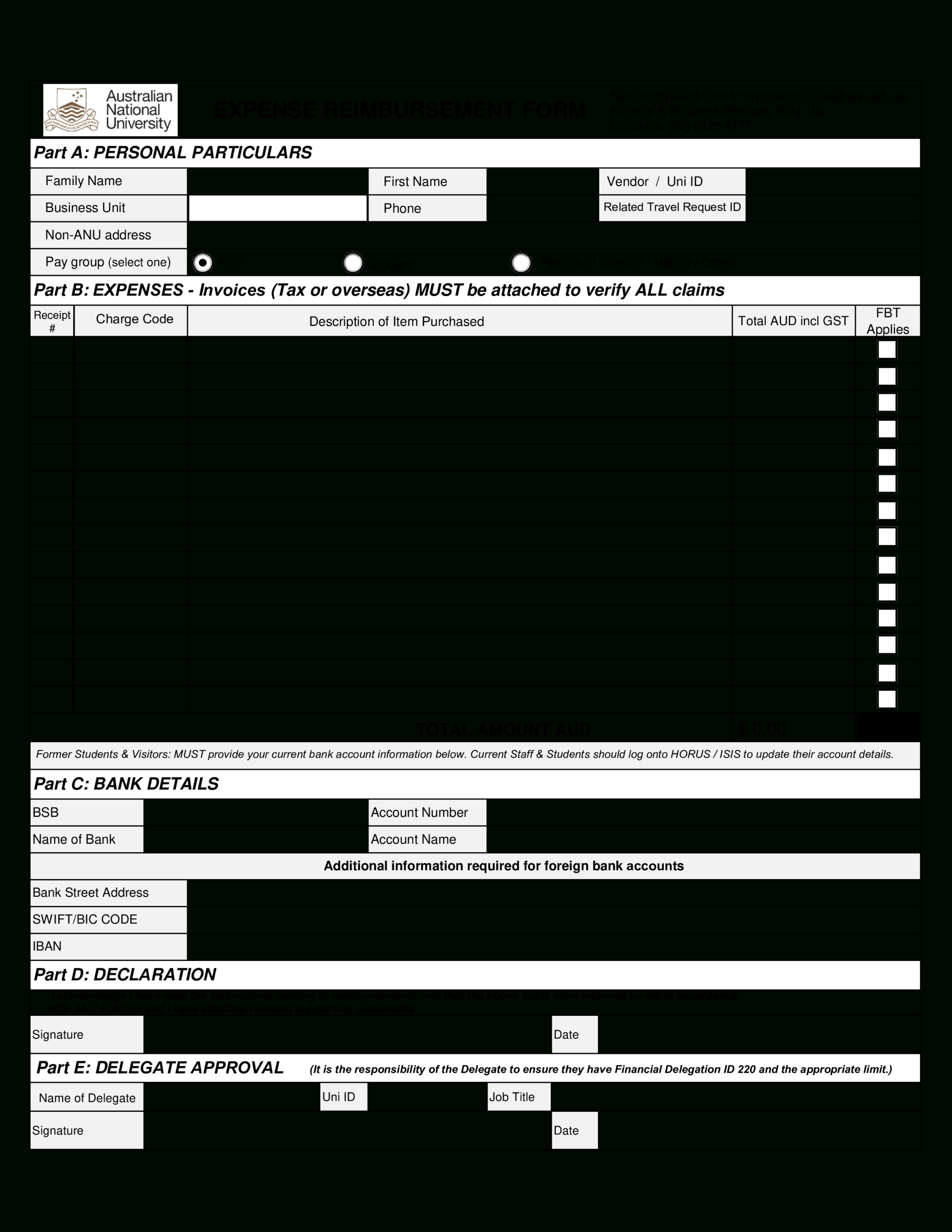 Expense Reimbursement Form | Templates At In Reimbursement Form Template Word