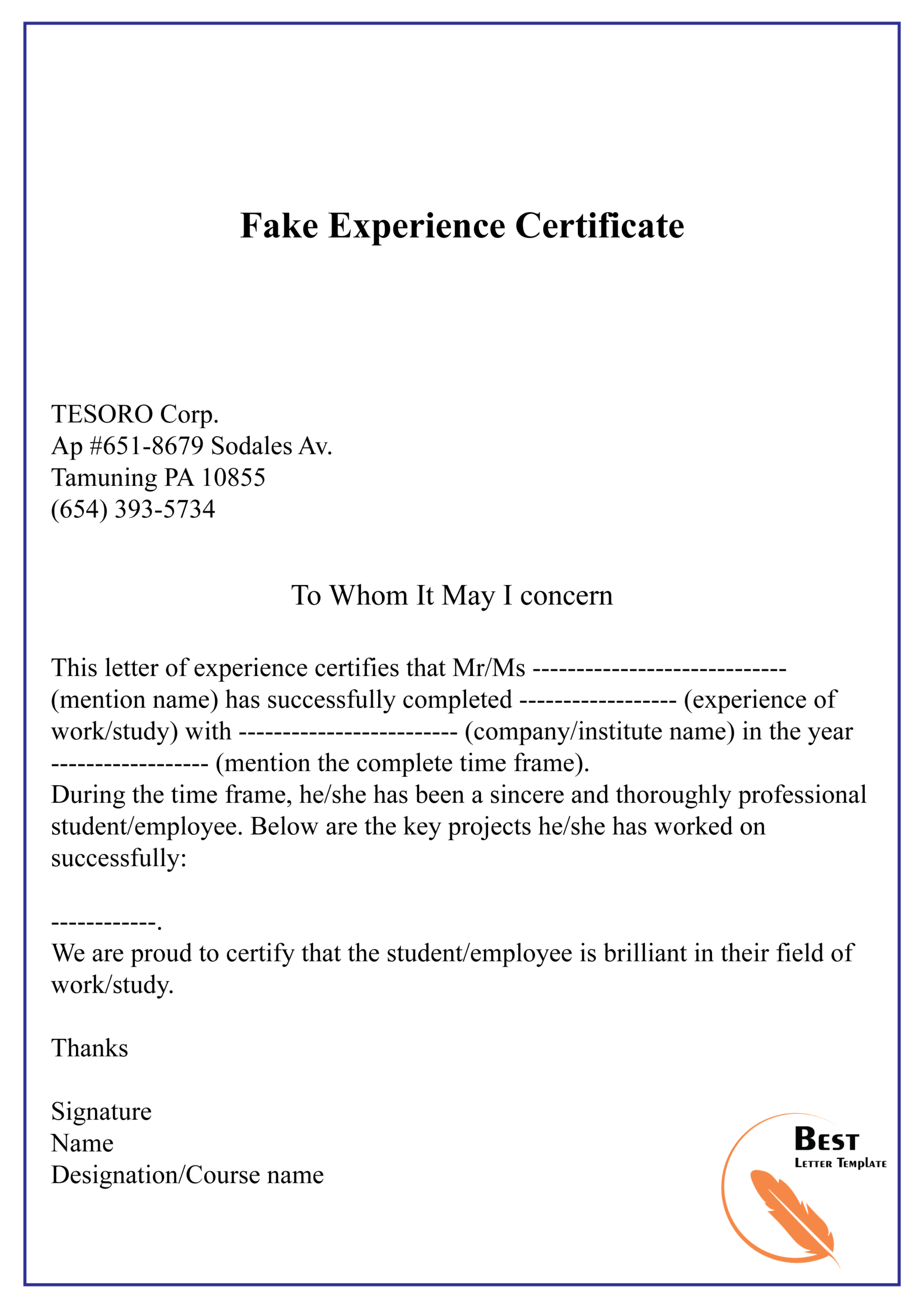 Fake Experience Certificate 01   Best Letter Template Regarding Certificate Of Experience Template