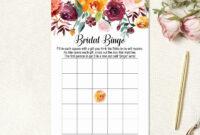 Fall Bridal Shower Bingo Cards, Bridal Shower Game Printable inside Blank Bridal Shower Bingo Template