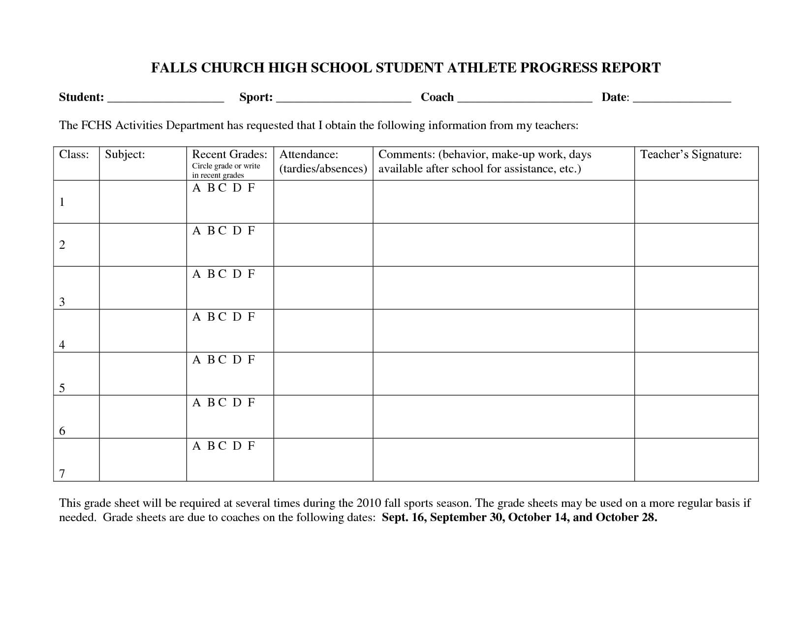 Falls Church High School Student Athlete Progress Report Intended For High School Progress Report Template