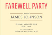 Farewell Party Invitation Wording | Farewell Party inside Farewell Invitation Card Template