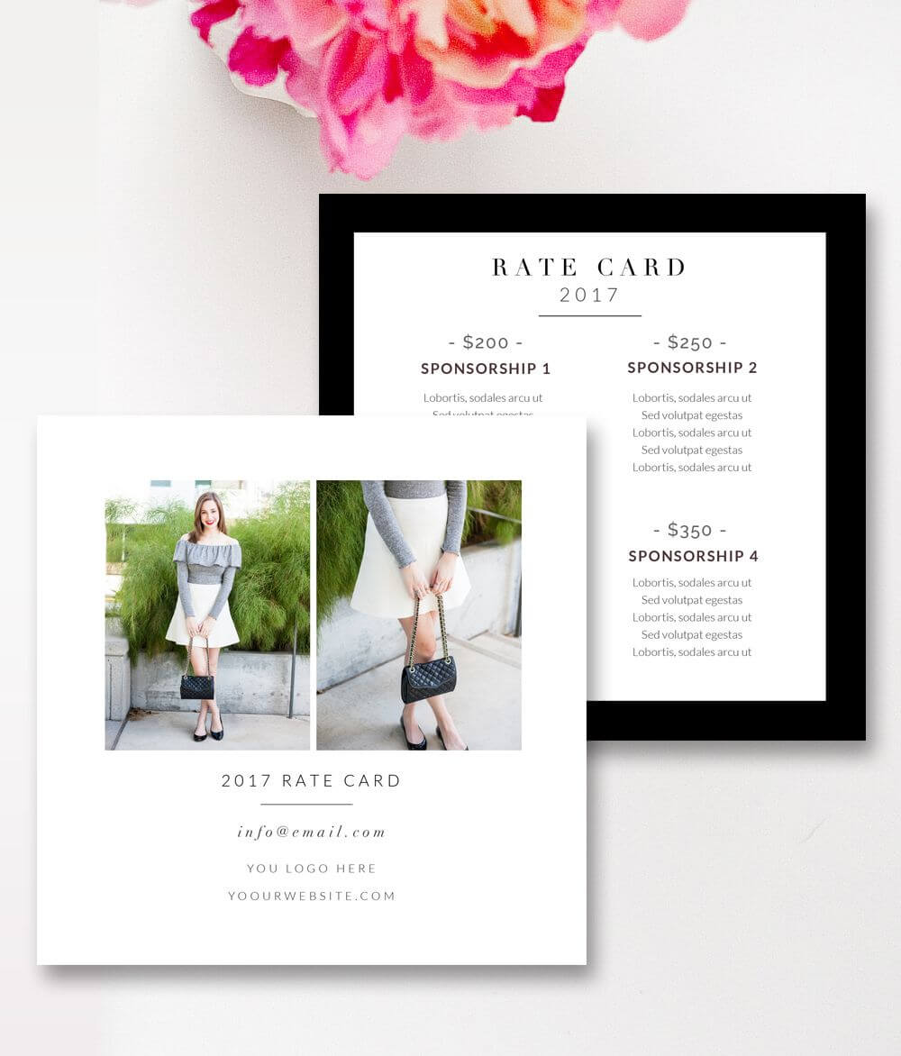 Fashion & Beauty Blogger Rate Card Template | Photoshop For Regarding Rate Card Template Word