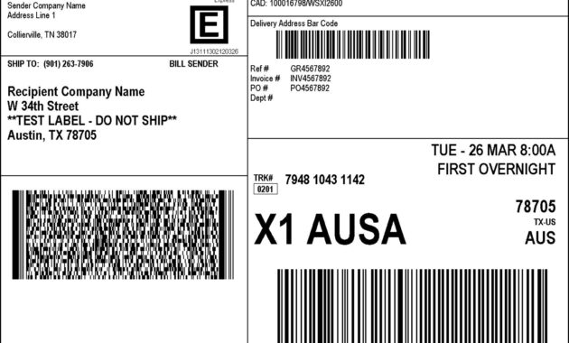 Fedex Shipping Label - Sample Templates - Sample Templates regarding Fedex Label Template Word