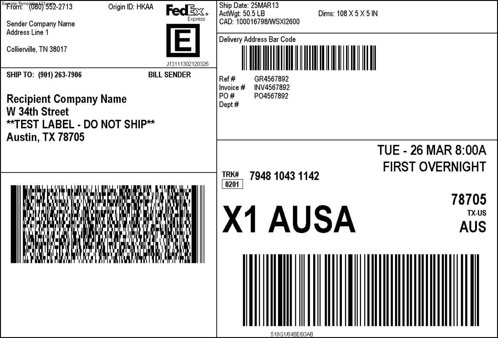 Fedex Shipping Label - Sample Templates - Sample Templates Regarding Fedex Label Template Word
