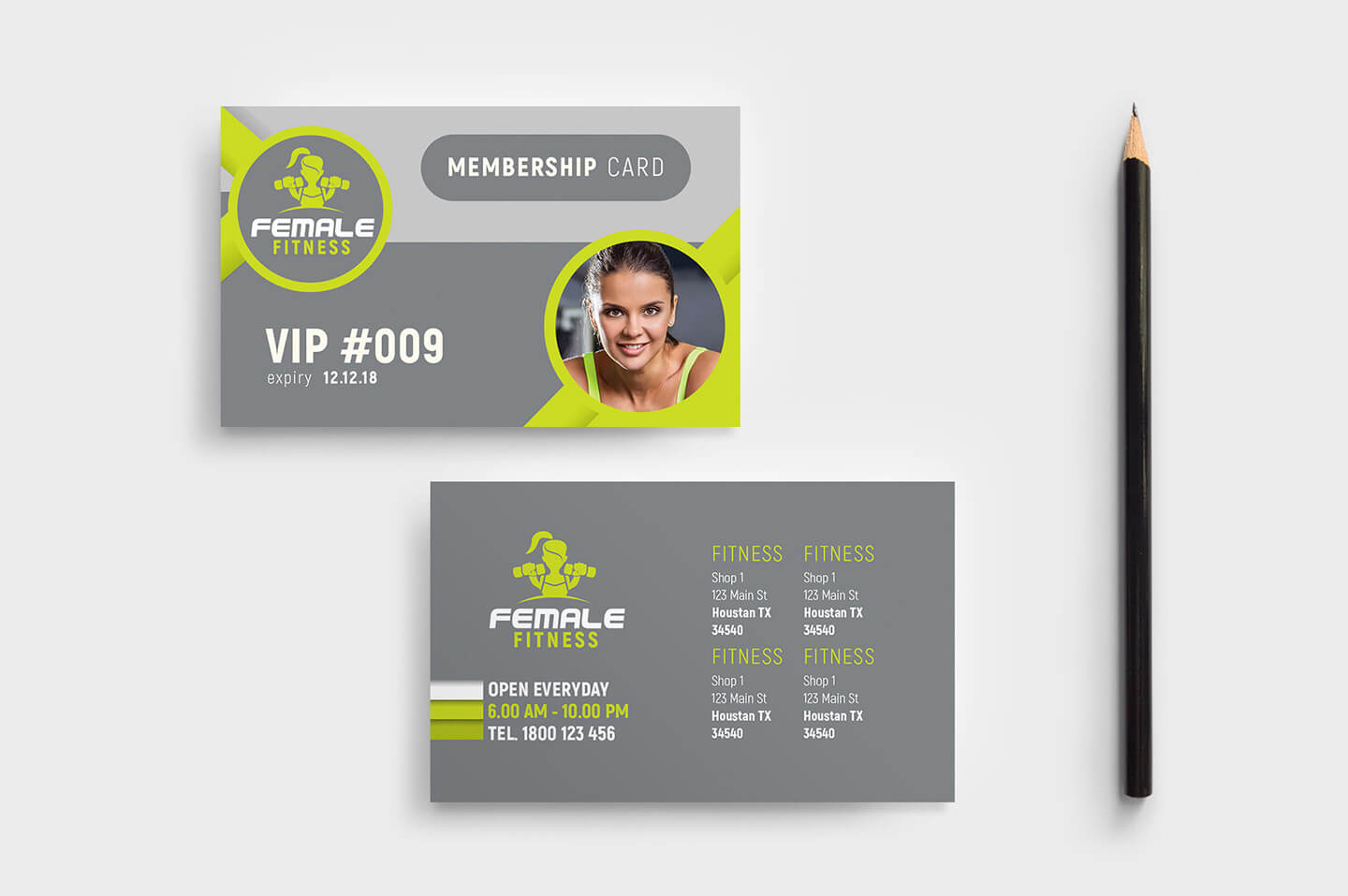 Female Fitness Membership Card Template In Psd, Ai Intended For Gym Membership Card Template