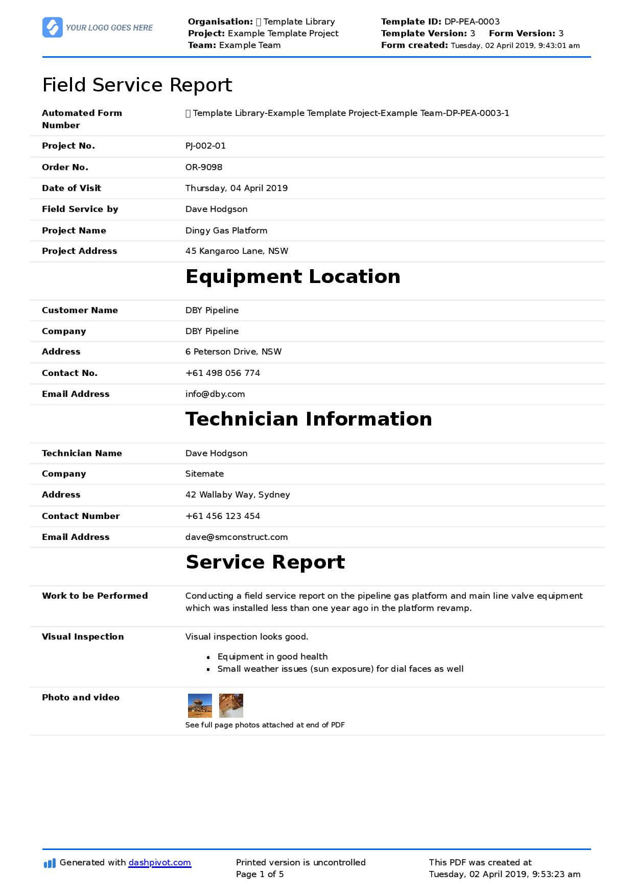 Field Service Report Template (Better Format Than Word Inside Technical Service Report Template