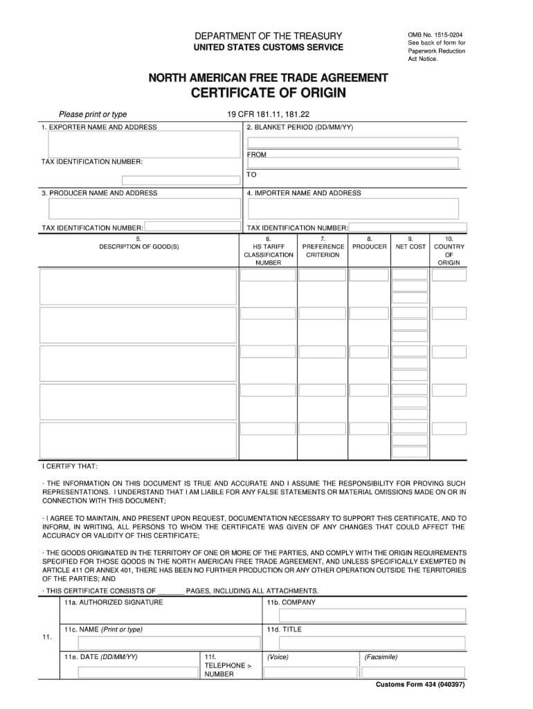 Fillable Nafta Certificate Of Origin - Fill Online For Nafta Certificate Template