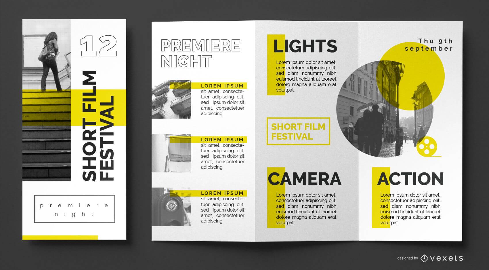 Film Festival Brochure Template - Vector Download In Film Festival Brochure Template