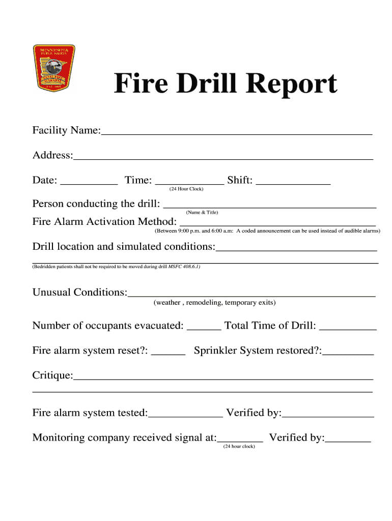 Fire Drill Report Template - Fill Online, Printable For Fire Evacuation Drill Report Template