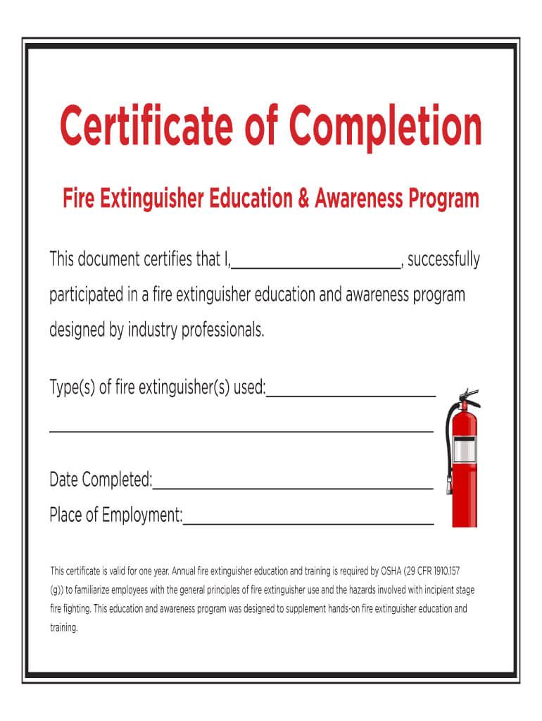 Fire Extinguisher Certificate - Fill Online, Printable Within Fire Extinguisher Certificate Template