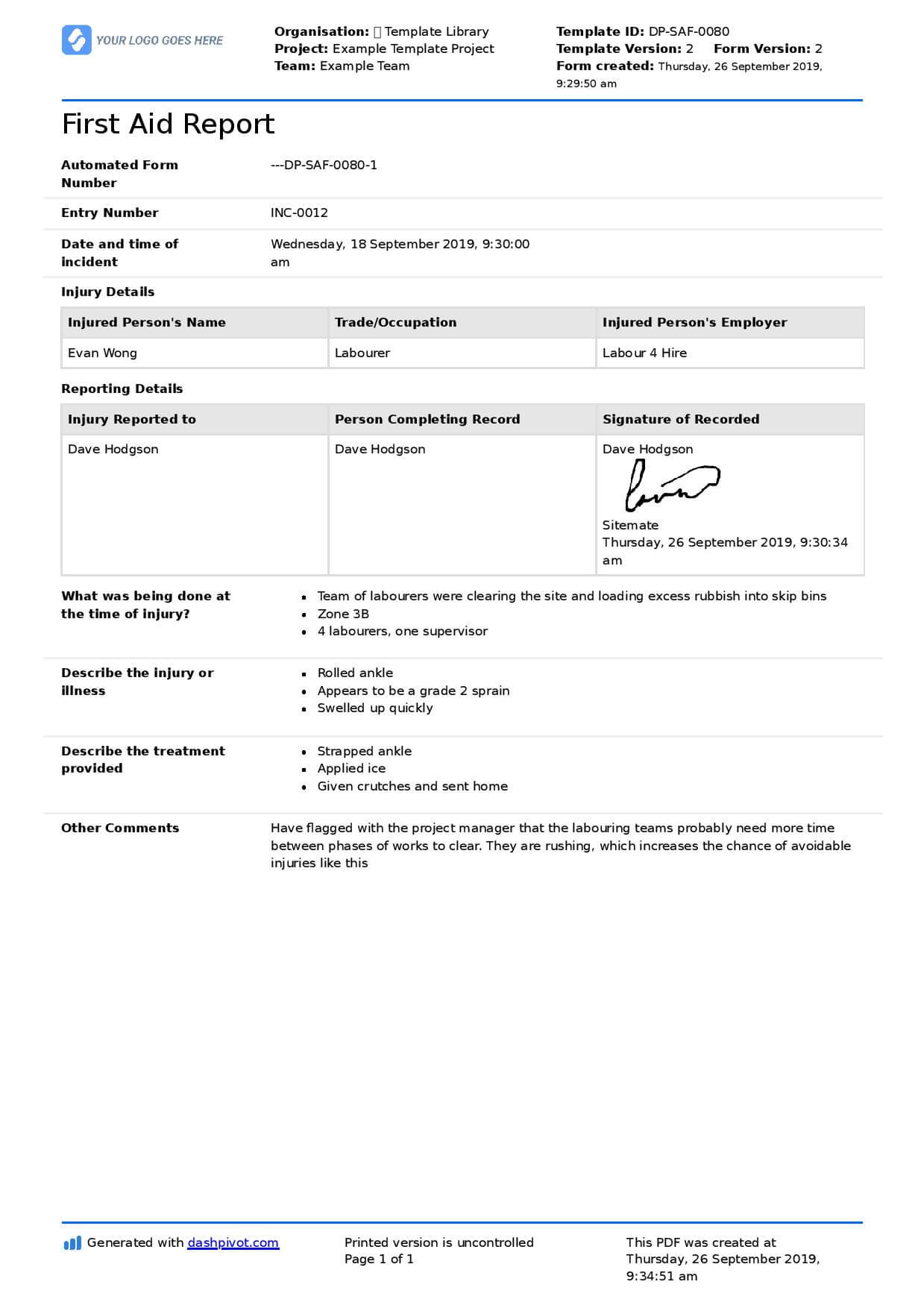 First Aid Incident Form In First Aid Incident Report Form Template