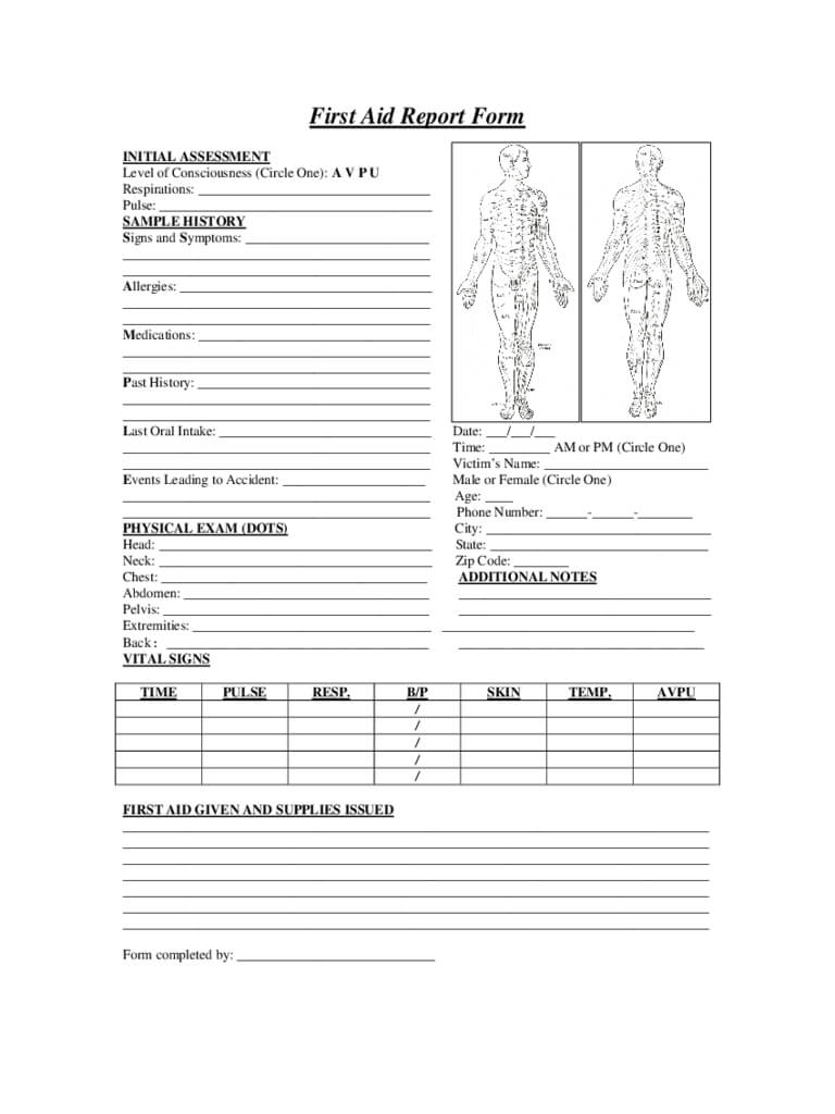 First Aid Report Form – 2 Free Templates In Pdf, Word, Excel Inside First Aid Incident Report Form Template