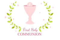 First Holy Communion Greeting Card Design Template inside First Holy Communion Banner Templates