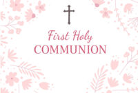 First Holy Communion Greeting Card Design Template with First Communion Banner Templates