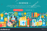 Flat Design Concept Science Horizontal Banner Stock Vector throughout Science Fair Banner Template