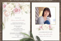 Floral Funeral Invitation, Celebration Of Life Invites inside Funeral Invitation Card Template
