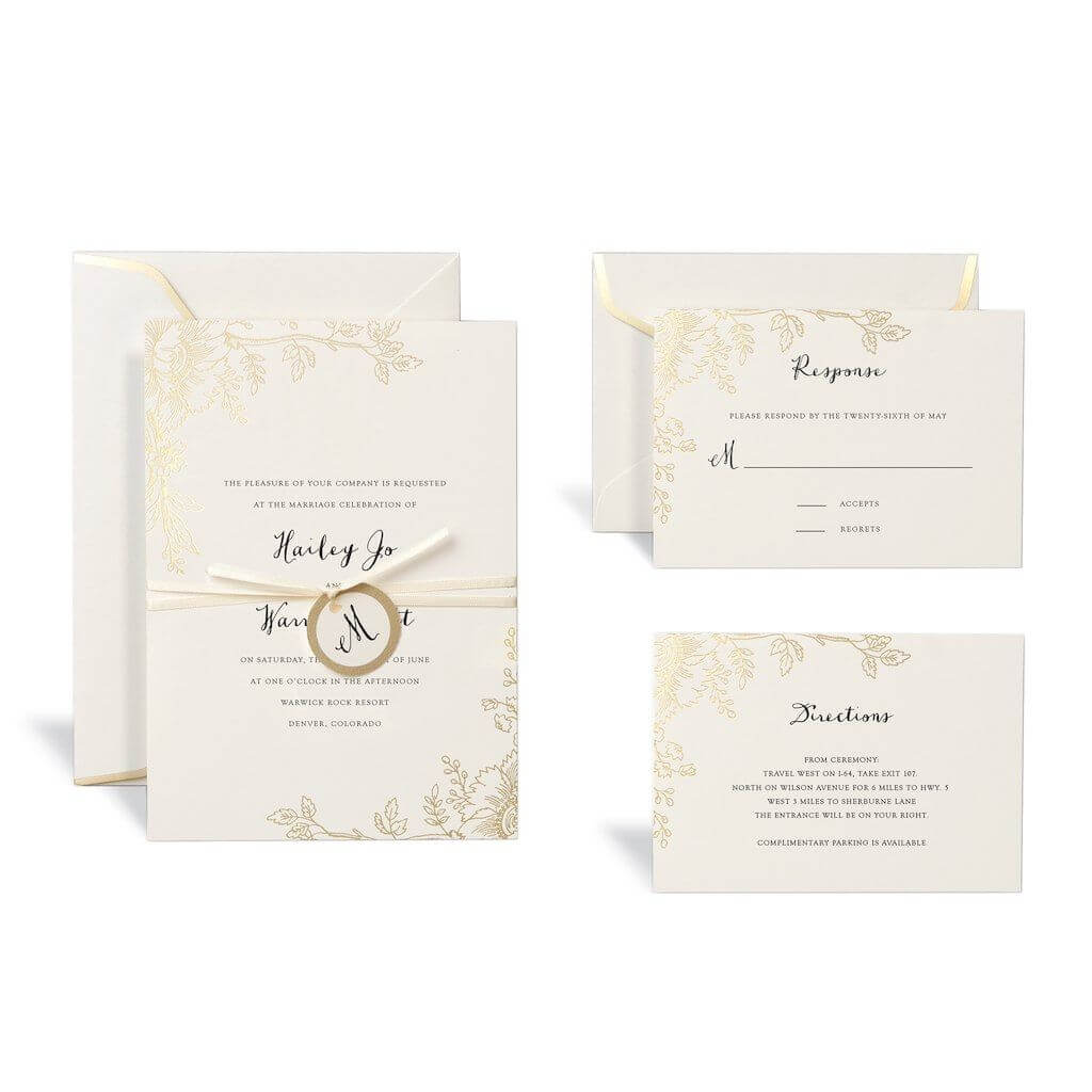 Floral Gold Wedding Invitation Kitcelebrate It With Celebrate It Templates Place Cards