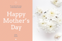 Floral Happy Mother's Day Card Template for Mothers Day Card Templates