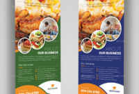 Food Restaurant Roll Up Banner Signage Template for Food Banner Template