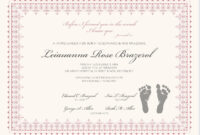 Footprints Baby Certificates | Birth Certificate Template intended for Baby Doll Birth Certificate Template