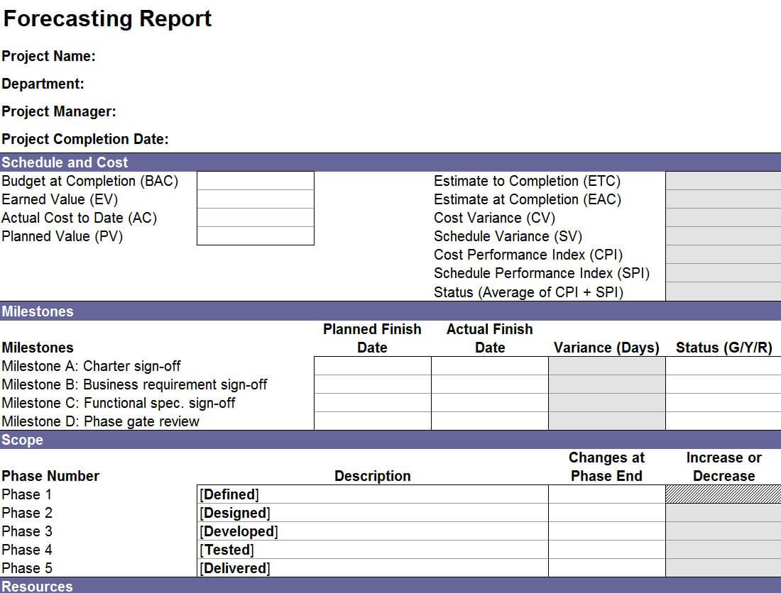 Forecasting Report Template | Excel Forecasting Report Within Earned Value Report Template