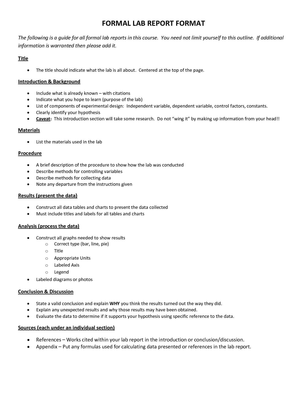 Formal Lab Report Format : Biological Science Picture In Formal Lab Report Template