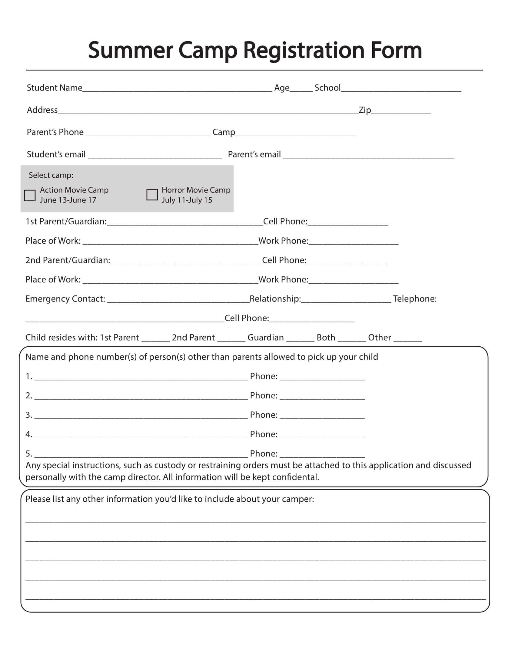 Free 10+ Printable Summer Camp Registration Forms | Pdf Throughout Camp Registration Form Template Word