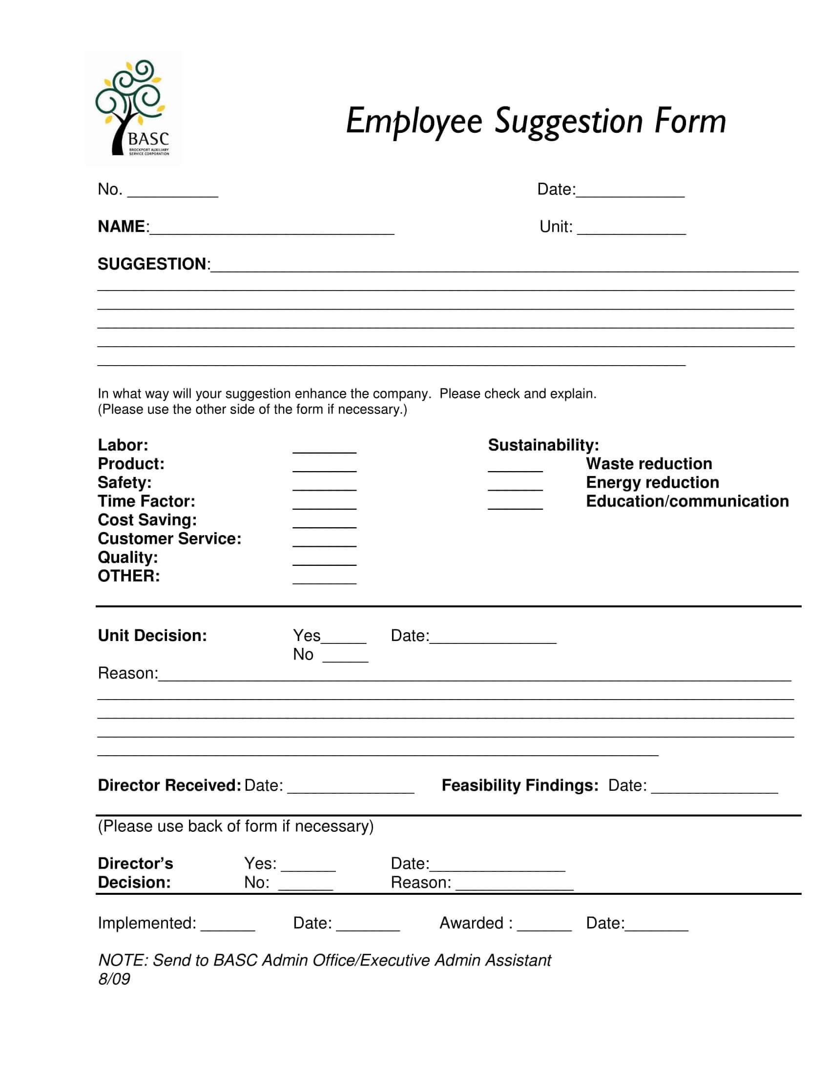 Free 14+ Employee Suggestion Forms In Word | Excel | Pdf Within Word Employee Suggestion Form Template