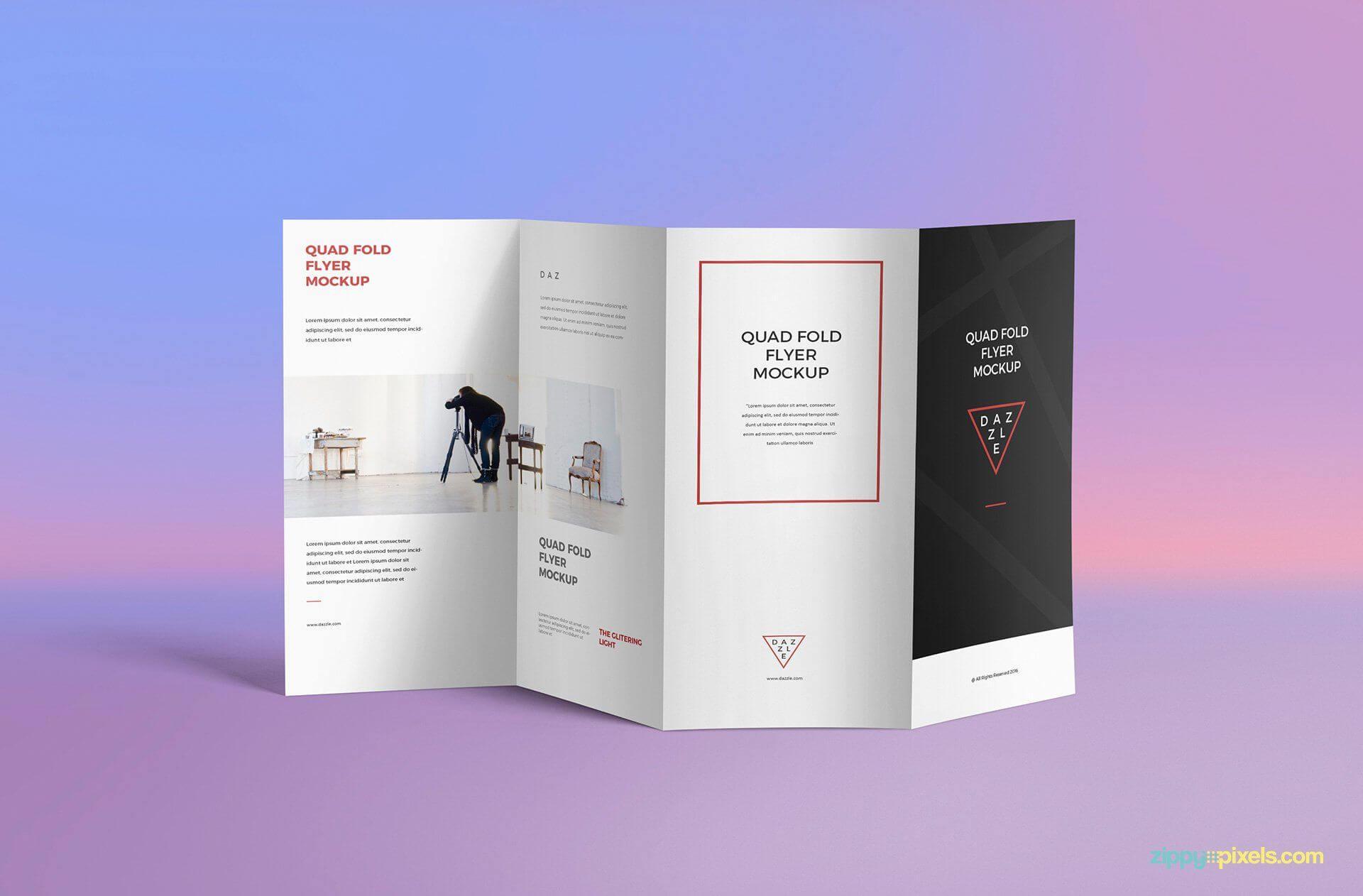 Free 4 Fold Brochure Psd Mockup - Creativebooster | Mockup In 4 Fold Brochure Template