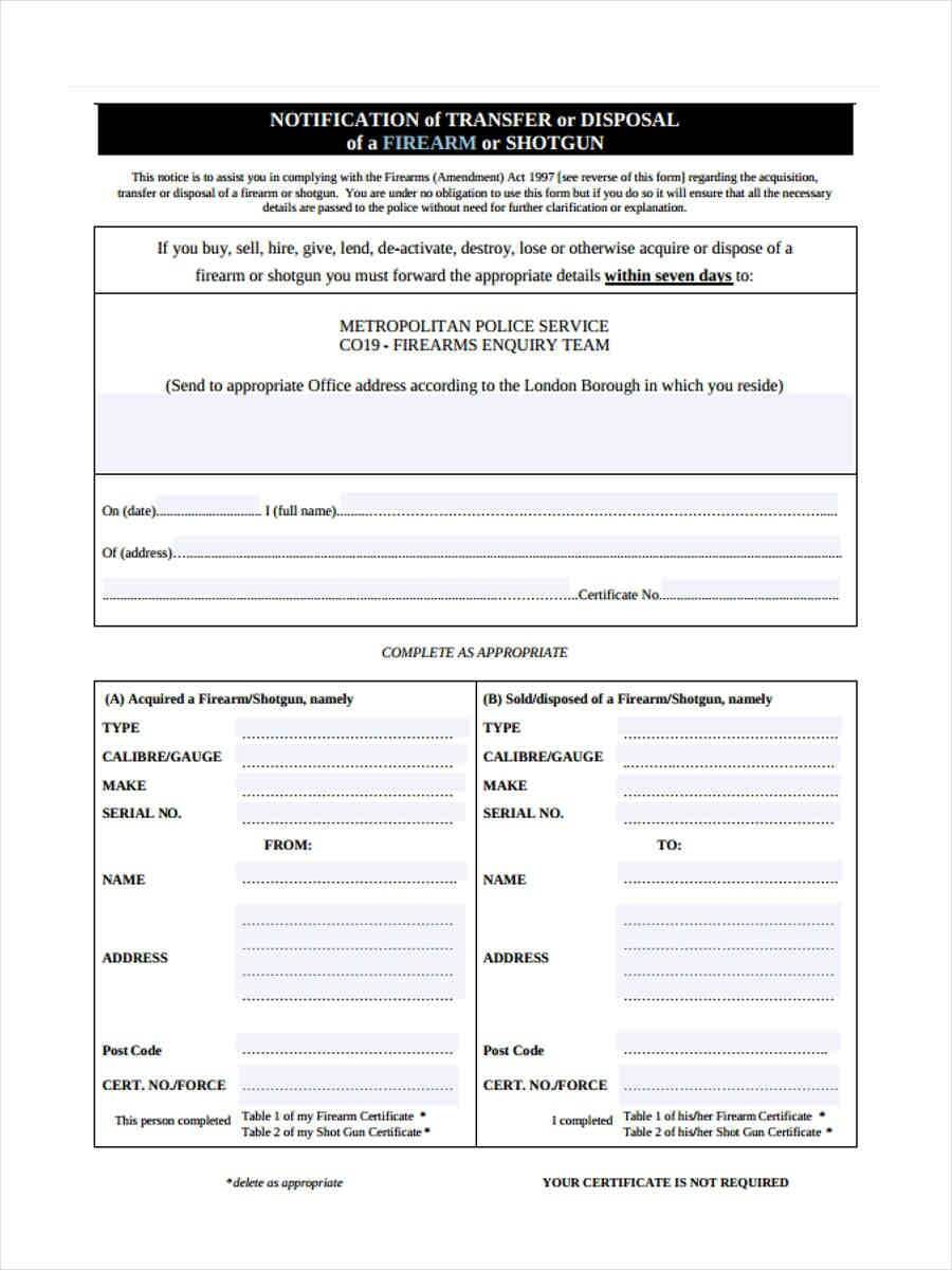 Free 5+ Notice Of Disposal Forms In Word | Pdf Pertaining To Certificate Of Disposal Template