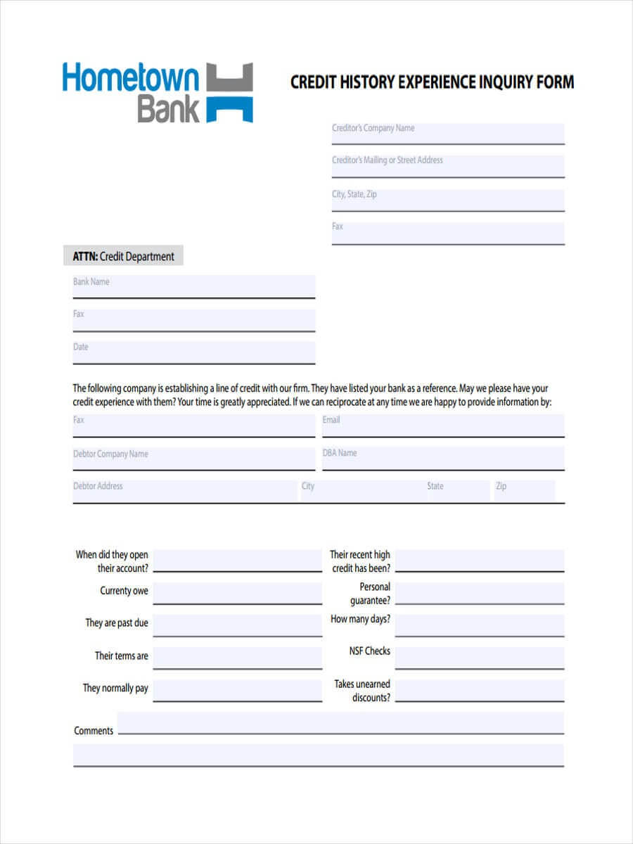 Free 6+ Sample Credit Inquiry Forms In Word | Pdf Pertaining To Enquiry Form Template Word