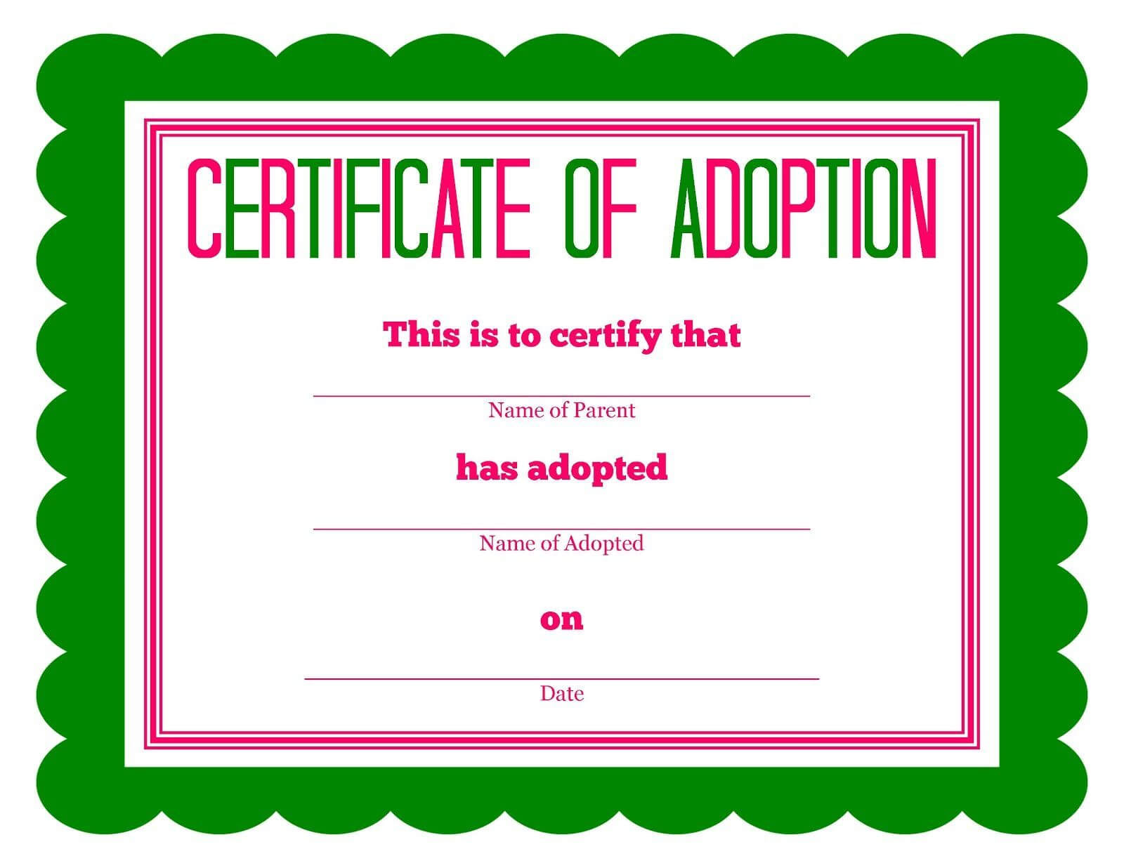 Free Adoption Certificate Template - Google Search For Pet Adoption Certificate Template