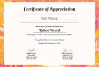 Free Appreciation Certificate | Certificate Of Appreciation with First Place Certificate Template