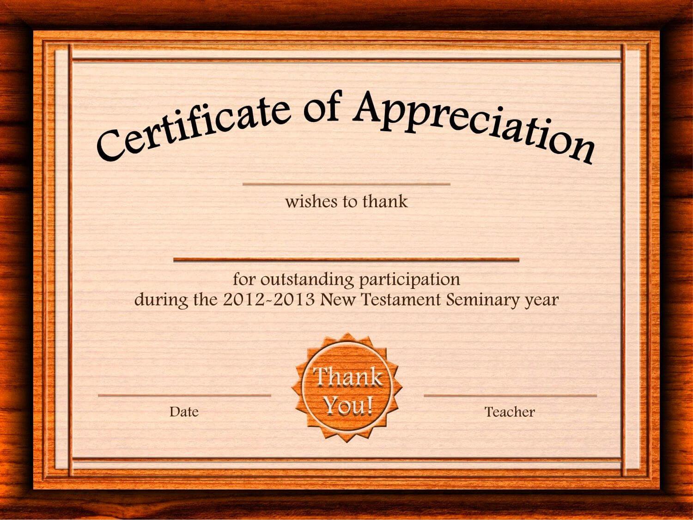 Free Appreciation Certificate Templates Supplier Contract Regarding In Appreciation Certificate Templates