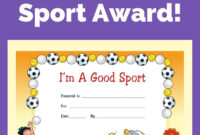 Free Award Certificate – I'm A Good Sport (Primary | Life Throughout Sports Day Certificate Templates Free