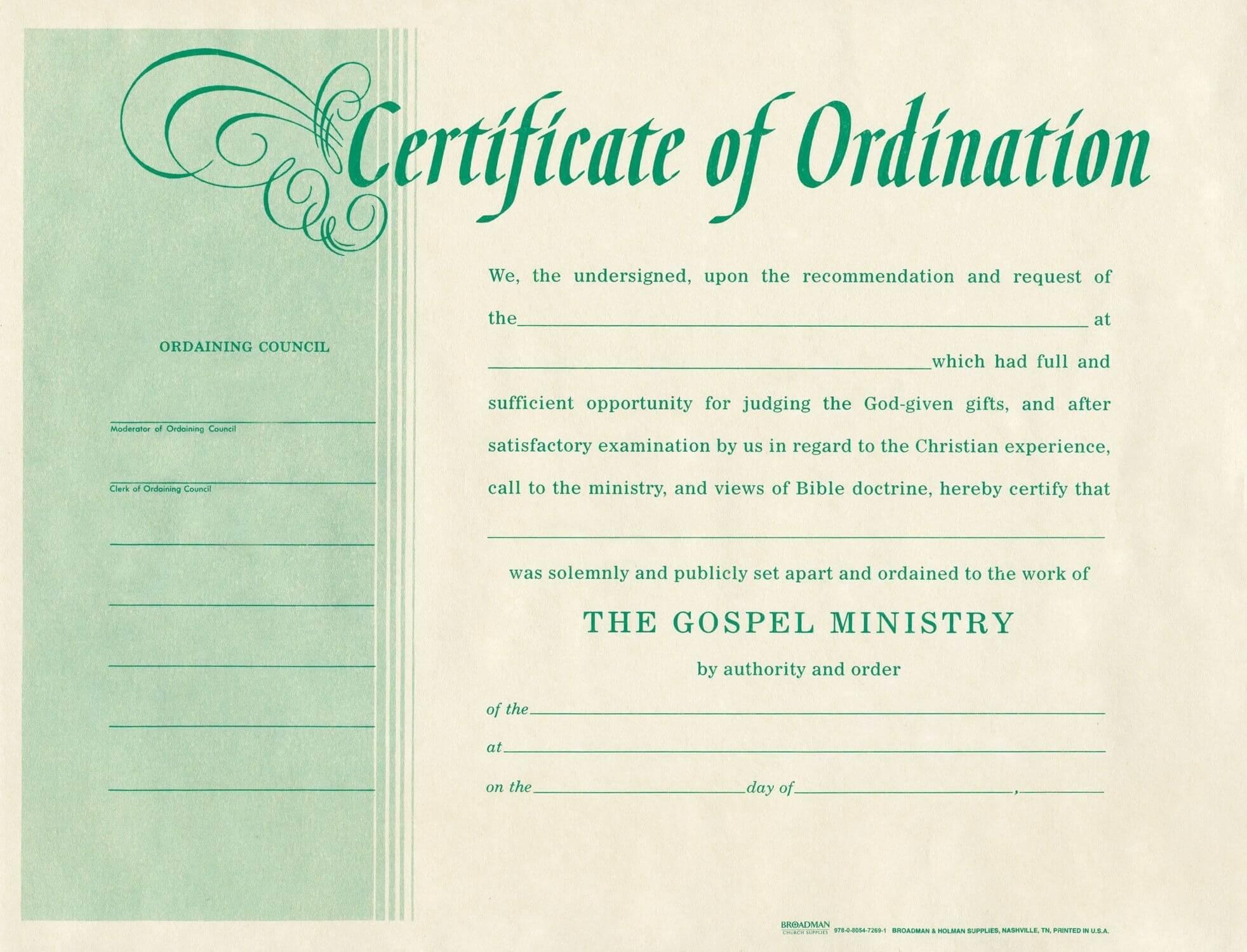 Free Blank Certificate Of Ordination | Ordination For For Ordination Certificate Template