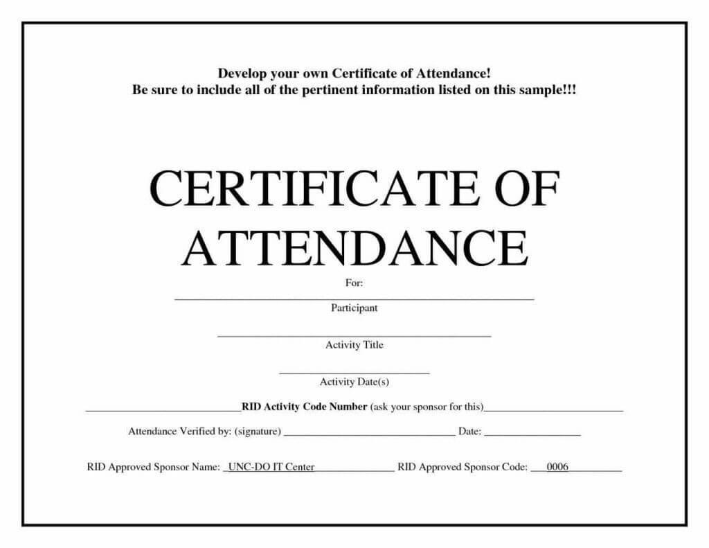 Free Blank Certificate Templates   Attendance Certificate Intended For Attendance Certificate Template Word