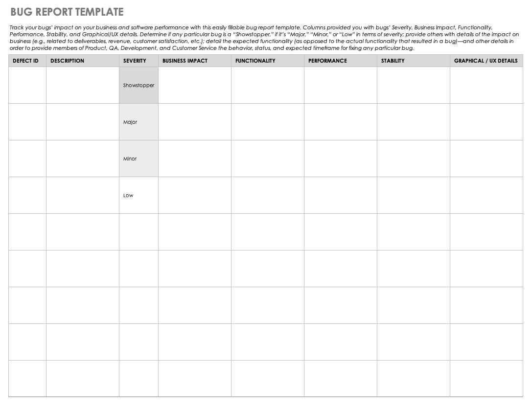 Free Bug Report Templates And Forms | Smartsheet Inside Bug Summary Report Template
